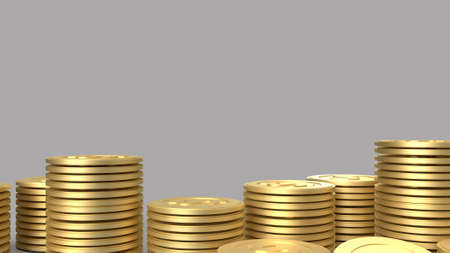 Gold coins on gray color background for business content 3d rendering.