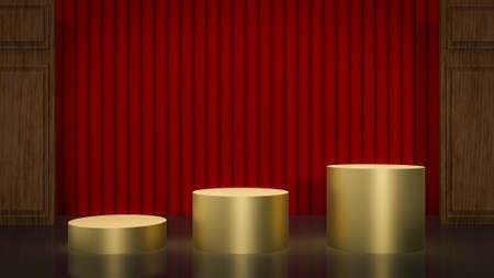 red curtain on stage for background 3d rendering. 写真素材