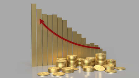 gold chart and coins group for business content 3d rendering.