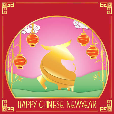 The golden ox for Chinese New Year 2021 for holiday content.