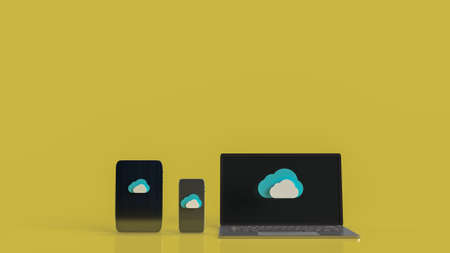 cloud and smart phone or smart device for technology network content 3d rendering