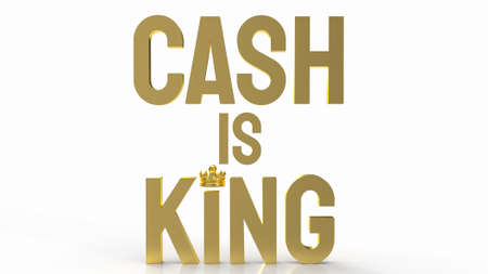 gold word cash is king on white background for business content 3d rendering