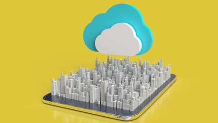 cloud and city on tablet  for technology network content 3d rendering