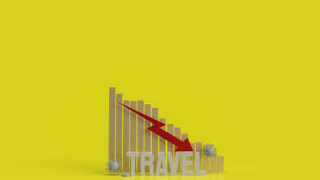 travelchart down and virus for business content 3d rendering