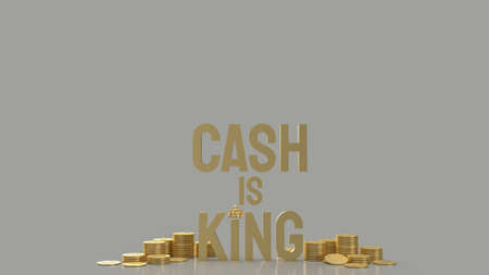gold word cash is king and gold coins  for business content 3d rendering 写真素材