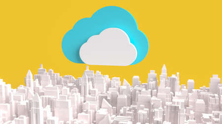 cloud on city for technology network content 3d rendering