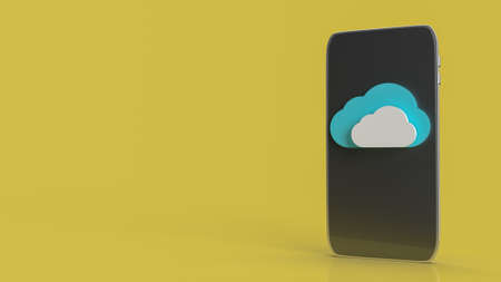 cloud and smart phone for technology network content 3d rendering