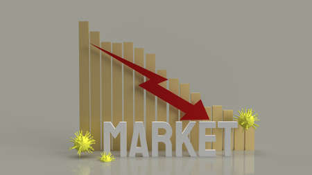 market chart down and virus for business content 3d rendering 写真素材