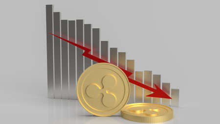 ripple coins and chart down for business content 3d rendering