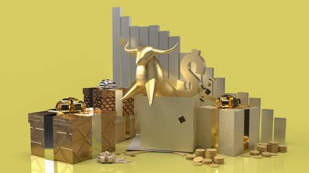 gold bull in gift box surprise for business content 3d rendering