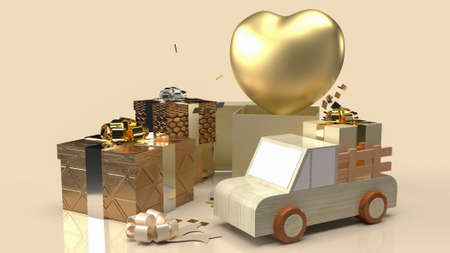 gold heart and gift boxes for valentine's day content 3d rendering