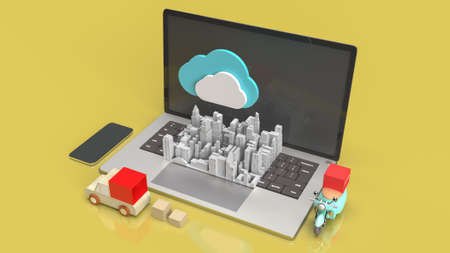 cloud and technology equipment for CLOUD COMPUTING content 3d rendering. 写真素材