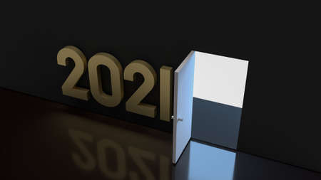 2021 gold text and light glow on a door for abstract background content 3d rendering. 写真素材