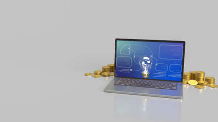 light bulb on notebook and gold coins  3d rendering.