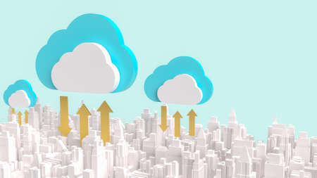cloud and building city for communication technology content 3d rendering. 写真素材