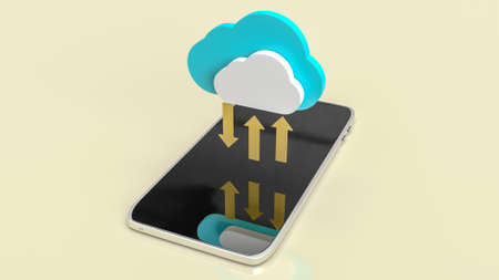 cloud and gold arrows on mobile for communication technology content 3d rendering.