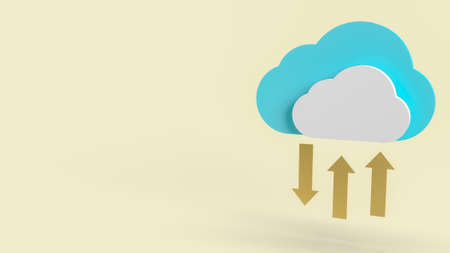 cloud and gold arrows for communication technology content 3d rendering. 写真素材