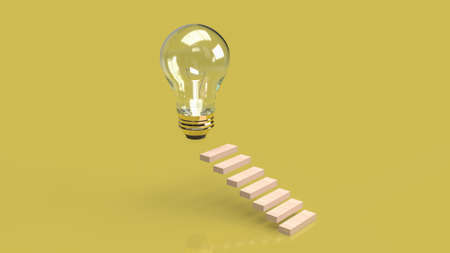 Light bulb and staircase for idea content 3d rendering.