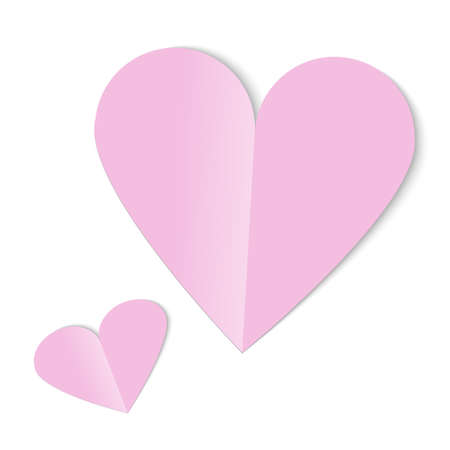 pink heart paper cut on white background for valentine day content.