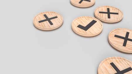 The right and wrong symbol on wooden plate 3d rendering 写真素材