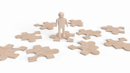 wood human figure on jigsaw for background 3d rendering.