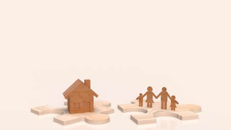 home wooden and family plate on jigsaw 3d rendering. 写真素材