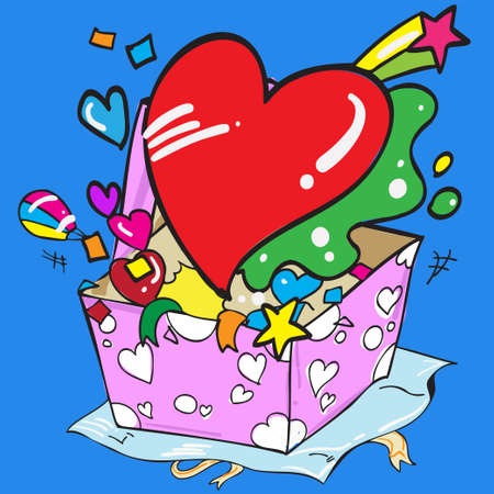 heart and gift box cartoon style vector image  イラスト・ベクター素材
