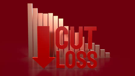 cut loss red text and chart  for business content 3d rendering.