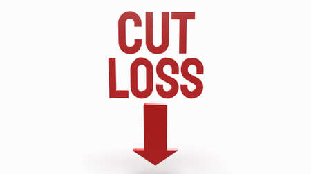cut loss red text on white background  for business content 3d rendering.