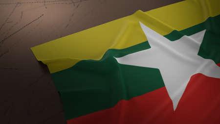 Myanmar flag on dirty floor 3d rendering.