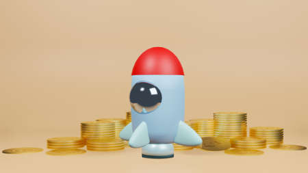 rocket and gold coins for start up content 3d rendering