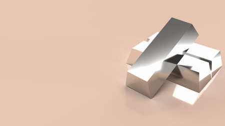 silver bar for background business content 3d renderin