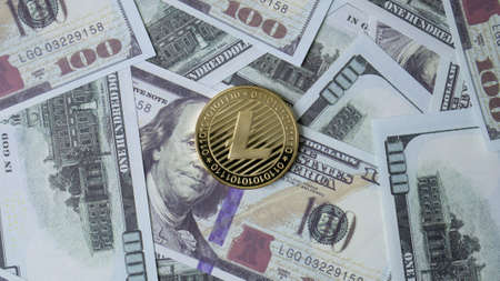lite coin and banknote 100 dollar  top view image for business content Stock fotó