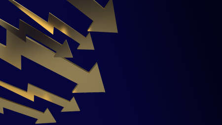 Gold arrow on dark blue background 3d rendering.