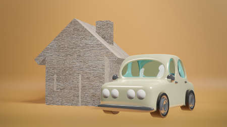 car and wood house for property  content 3d rendering