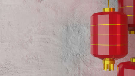 red Chinese lantern on cement wall for Chinese content 3d rendering.