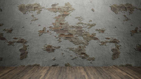dirty wall and wood floor for background content 3d rendering