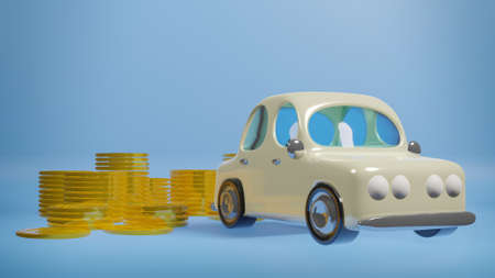 Car toy and gold coins on blue background 3d rendering