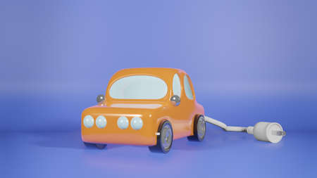 car and electric plug for ev car content 3d rendering