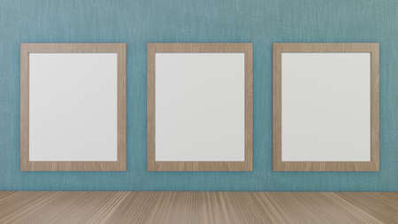 blank picture frames on green wallpaper  for background 3d rendering
