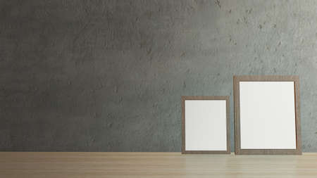 blank picture frames on cement wall for background 3d rendering Reklamní fotografie