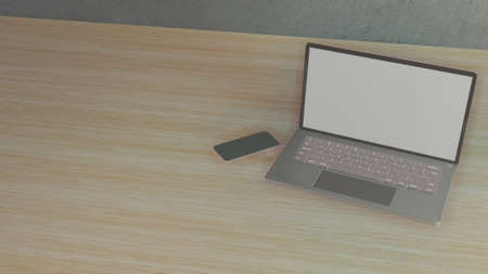 notebook on wood table for background for business content 3d rendering