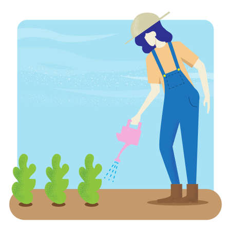 woman Water the plants vector image for background. Ilustrace