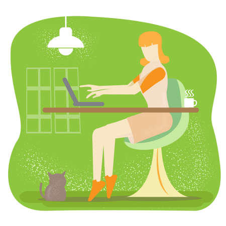 woman work at home vector image for business content.