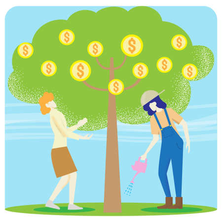 two women and tree coins vector image for business content.