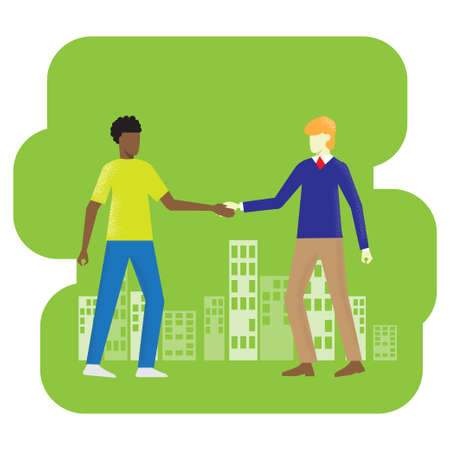 two men shake hand vector image for business content. Illusztráció