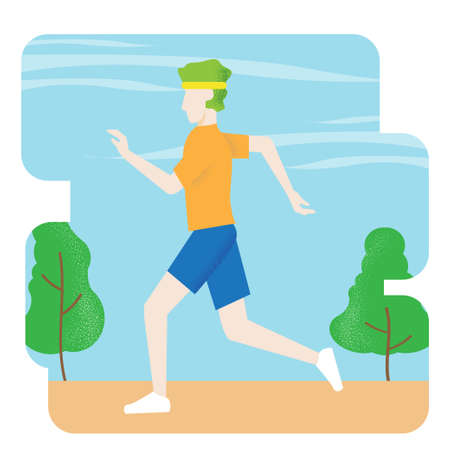 man running vector image for health and sport content.
