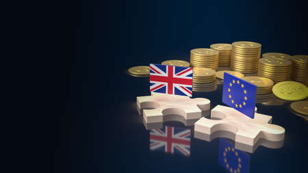 English flag and euro flag on wood puzzle for business content 3d rendering.