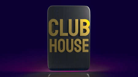 tablet and gold word club house for background 3d rendering. Stock fotó