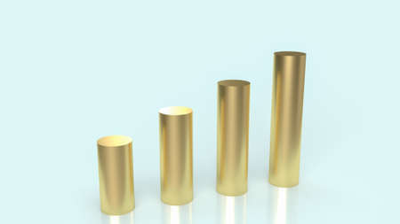 gold chart on  blue background for business content 3d rendering.